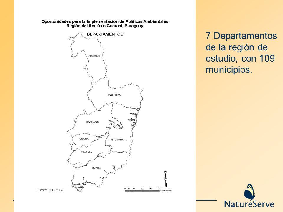 7 Departamentos de la región de estudio, con 109 municipios.