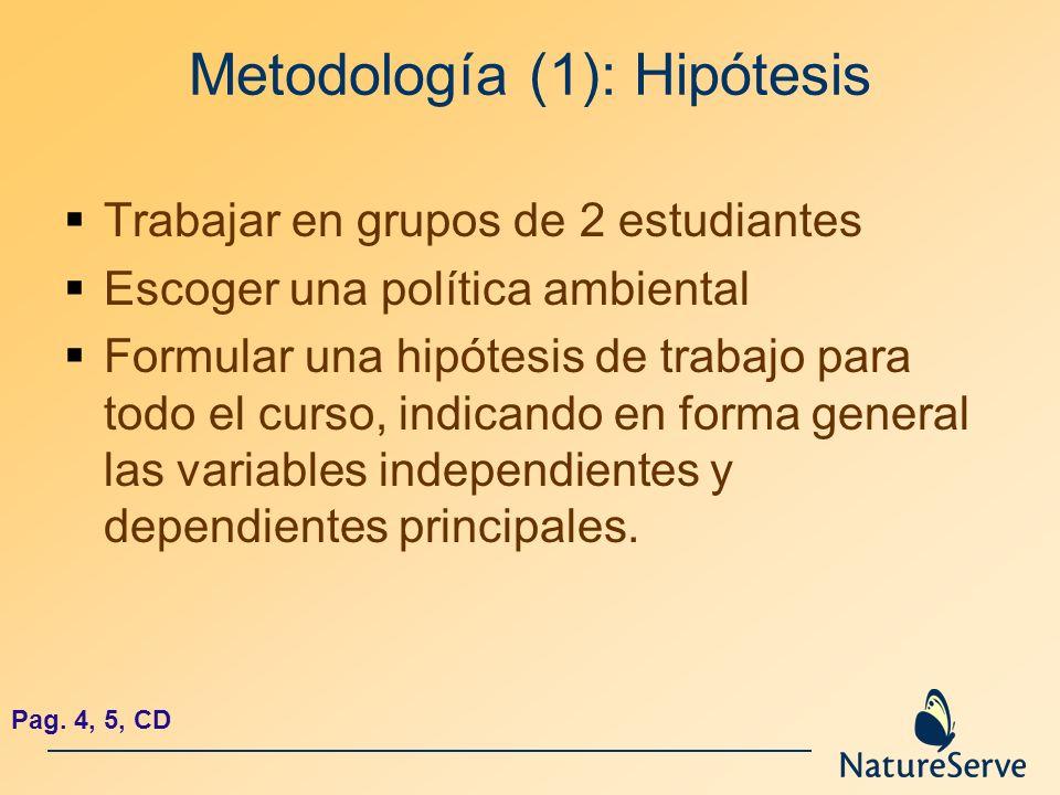 Metodología (1): Hipótesis Trabajar en grupos de 2 estudiantes Escoger una política ambiental Formular una hipótesis de trabajo para todo el curso, in