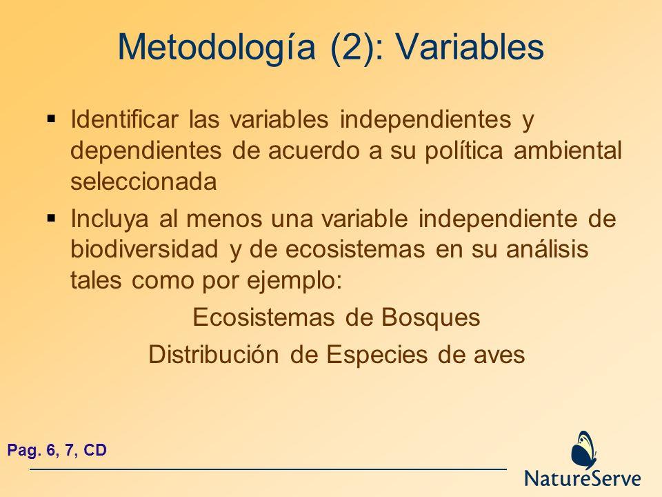 Metodología (2): Variables Identificar las variables independientes y dependientes de acuerdo a su política ambiental seleccionada Incluya al menos un