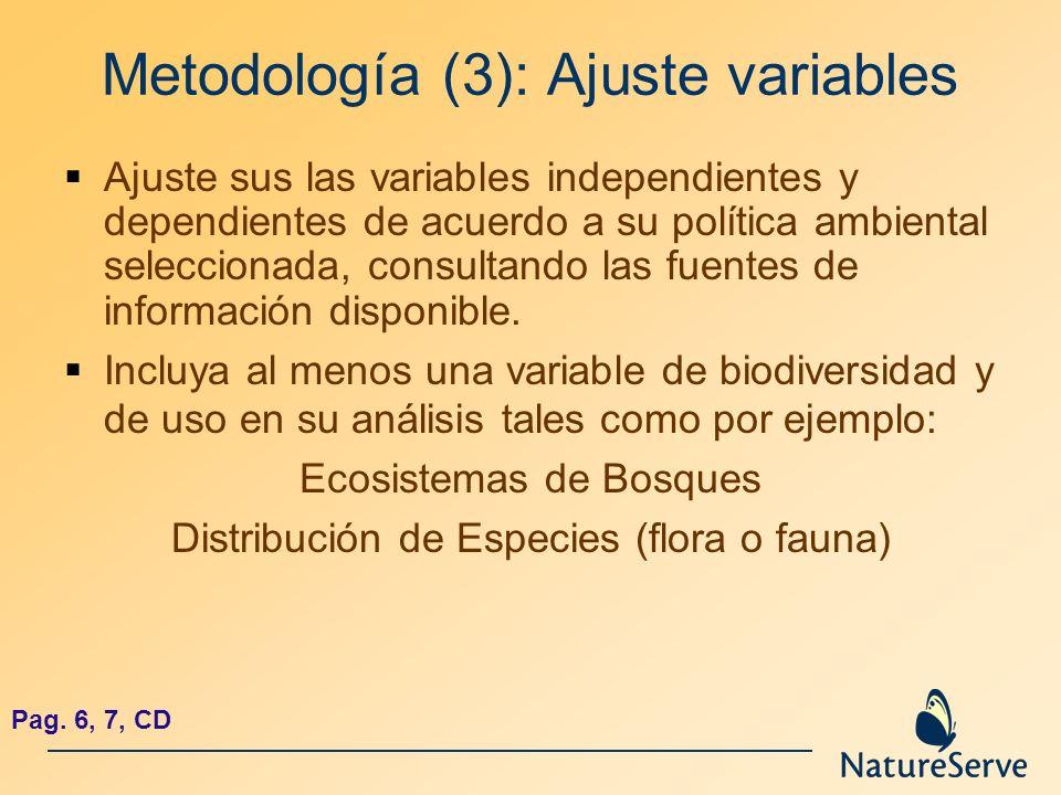 Metodología (3): Ajuste variables Ajuste sus las variables independientes y dependientes de acuerdo a su política ambiental seleccionada, consultando