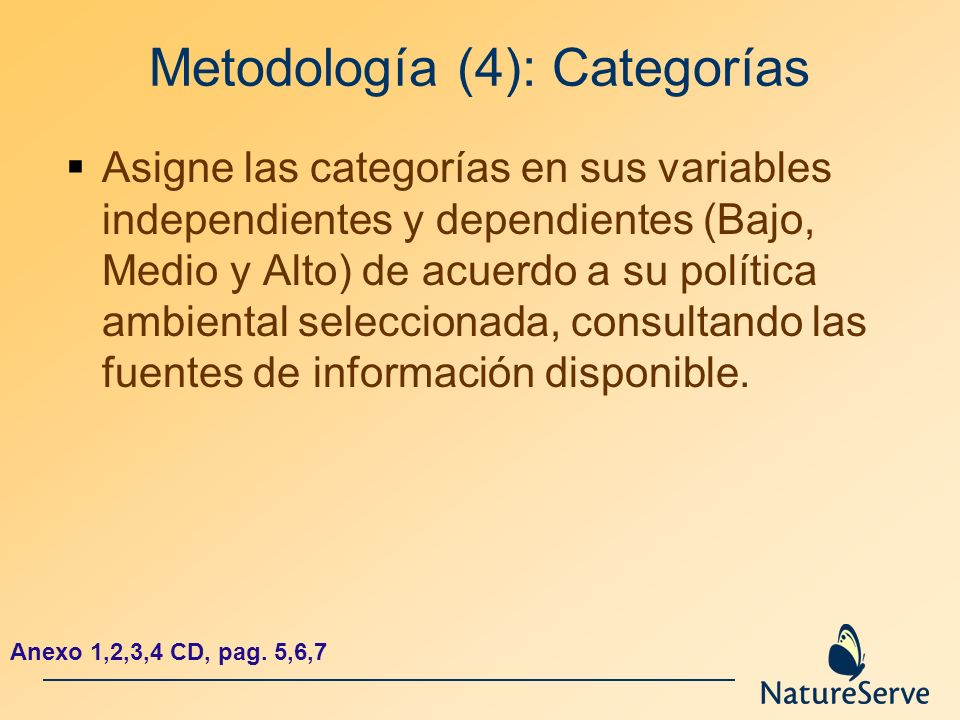 Metodología (4): Categorías Asigne las categorías en sus variables independientes y dependientes (Bajo, Medio y Alto) de acuerdo a su política ambient
