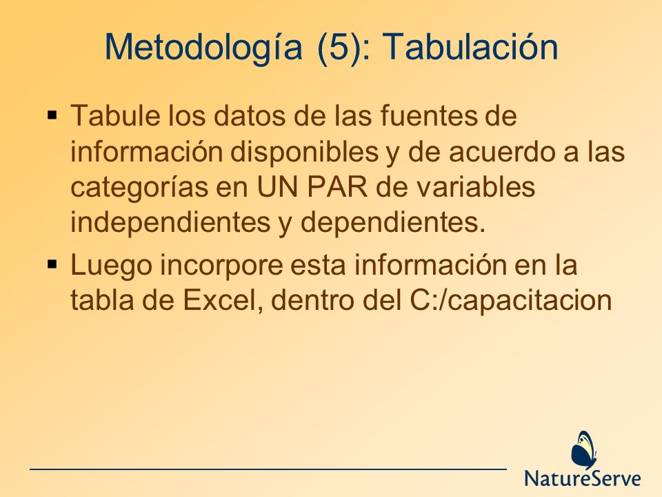 Metodología (5): Tabulación Tabule los datos de las fuentes de información disponibles y de acuerdo a las categorías en UN PAR de variables independie