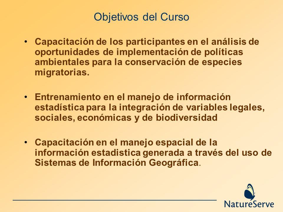 Objetivos del Curso Capacitación de los participantes en el análisis de oportunidades de implementación de políticas ambientales para la conservación