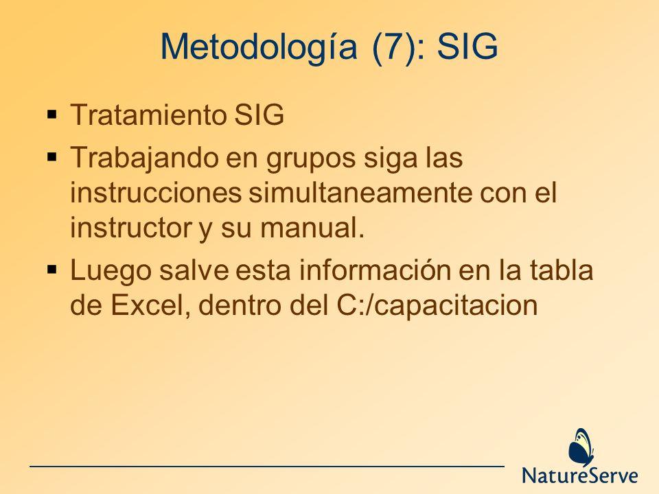 Metodología (7): SIG Tratamiento SIG Trabajando en grupos siga las instrucciones simultaneamente con el instructor y su manual. Luego salve esta infor