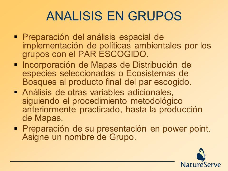 ANALISIS EN GRUPOS Preparación del análisis espacial de implementación de políticas ambientales por los grupos con el PAR ESCOGIDO. Incorporación de M