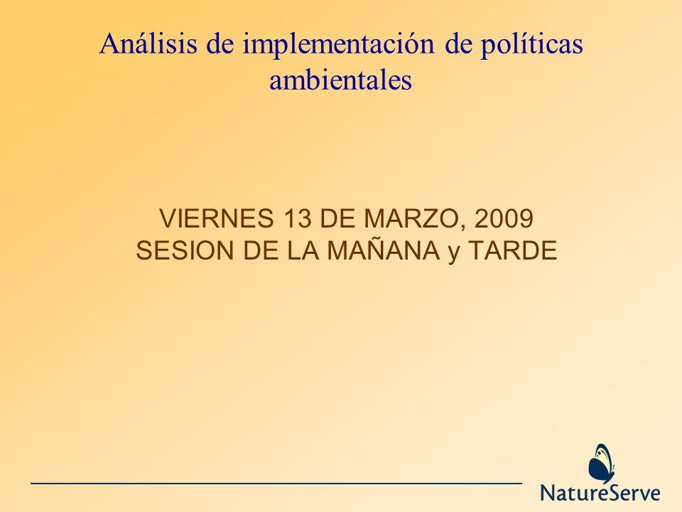 Análisis de implementación de políticas ambientales VIERNES 13 DE MARZO, 2009 SESION DE LA MAÑANA y TARDE