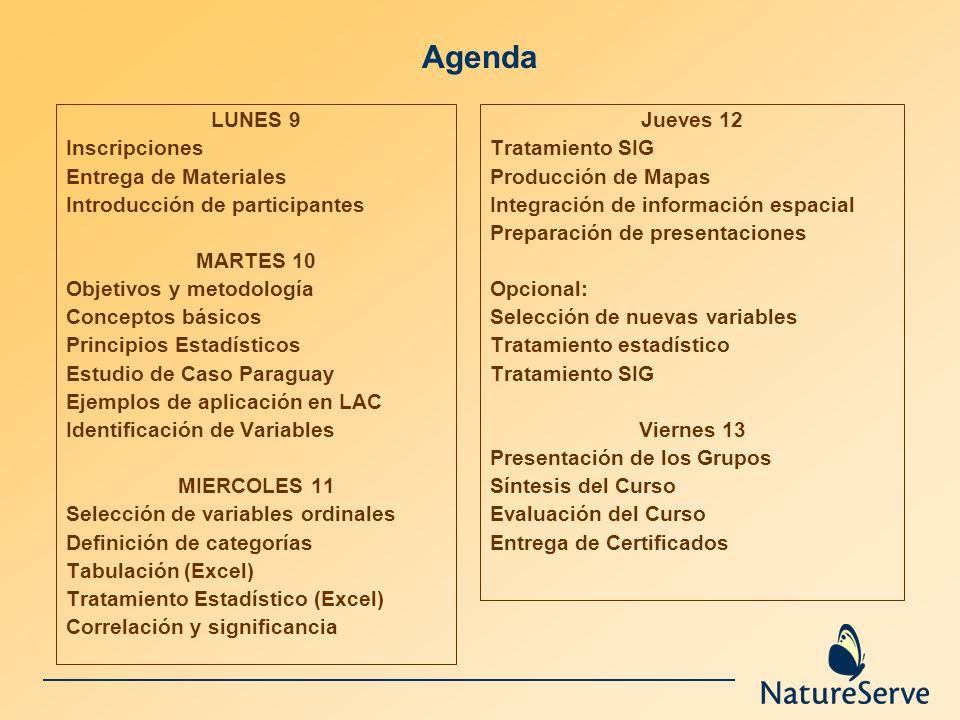 Agenda LUNES 9 Inscripciones Entrega de Materiales Introducción de participantes MARTES 10 Objetivos y metodología Conceptos básicos Principios Estadí
