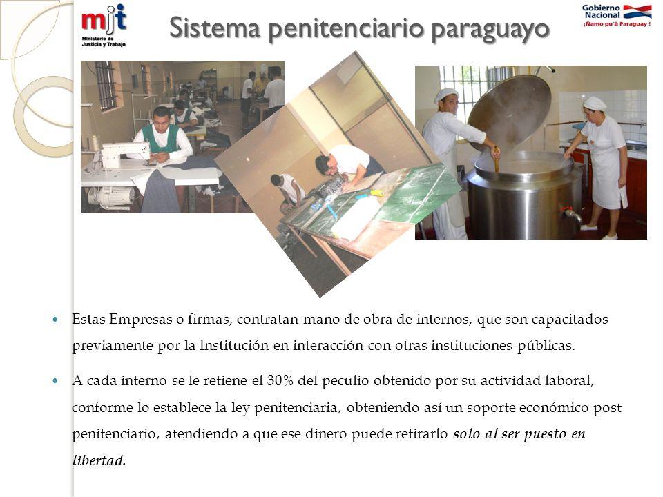 Sistema penitenciario paraguayo Estas Empresas o firmas, contratan mano de obra de internos, que son capacitados previamente por la Institución en interacción con otras instituciones públicas.