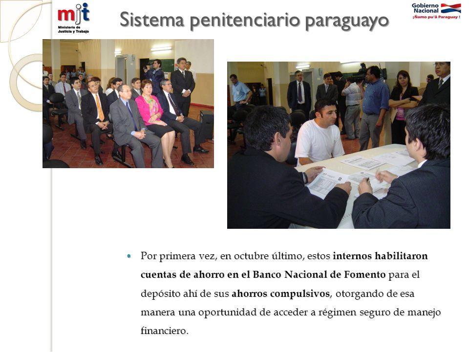 Sistema penitenciario paraguayo Por primera vez, en octubre último, estos internos habilitaron cuentas de ahorro en el Banco Nacional de Fomento para