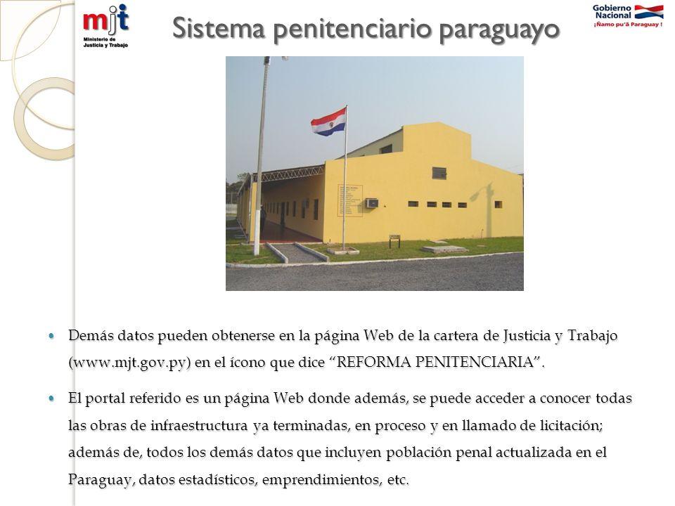 Sistema penitenciario paraguayo Demás datos pueden obtenerse en la página Web de la cartera de Justicia y Trabajo (www.mjt.gov.py) en el ícono que dice REFORMA PENITENCIARIA.