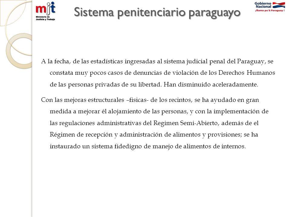 Sistema penitenciario paraguayo A la fecha, de las estadísticas ingresadas al sistema judicial penal del Paraguay, se constata muy pocos casos de denuncias de violación de los Derechos Humanos de las personas privadas de su libertad.
