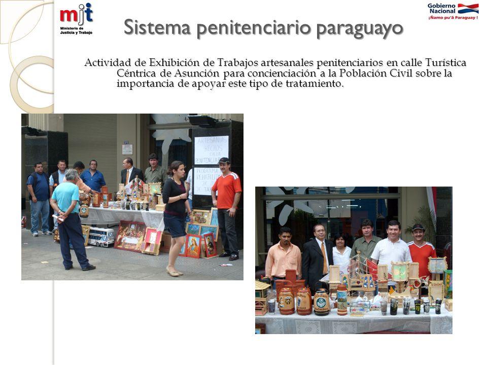 Actividad de Exhibición de Trabajos artesanales penitenciarios en calle Turística Céntrica de Asunción para concienciación a la Población Civil sobre la importancia de apoyar este tipo de tratamiento.