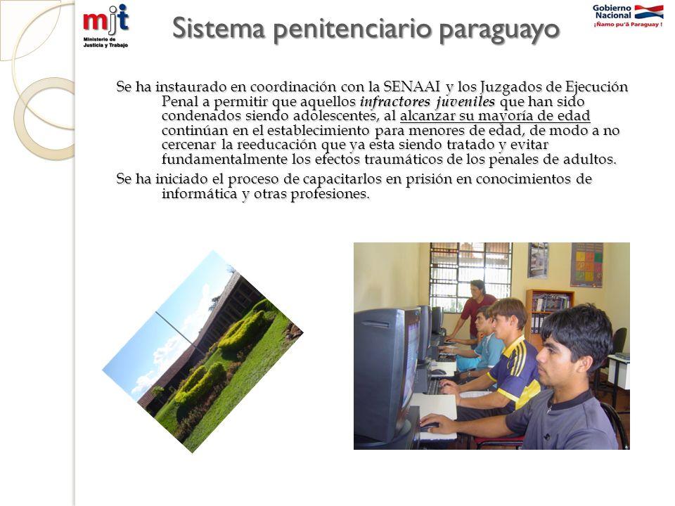 Sistema penitenciario paraguayo Se ha instaurado en coordinación con la SENAAI y los Juzgados de Ejecución Penal a permitir que aquellos infractores j