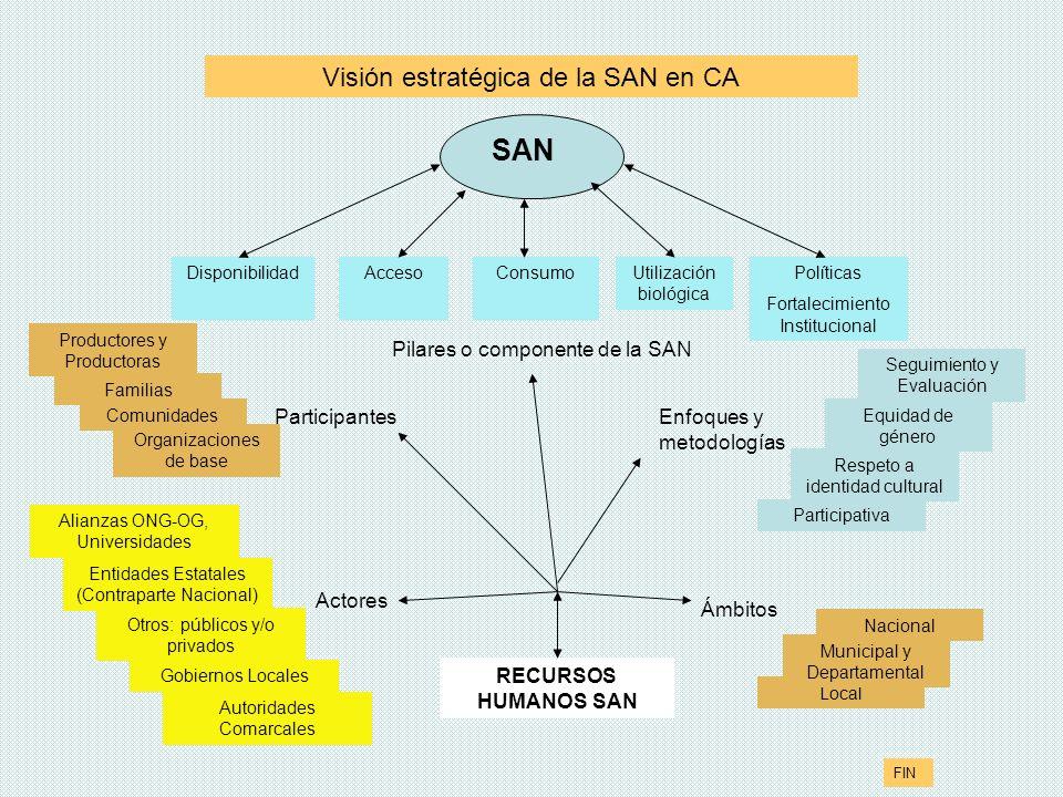 DisponibilidadUtilización biológica ConsumoAcceso Entidades Estatales (Contraparte Nacional) Autoridades Comarcales Gobiernos Locales Alianzas ONG-OG,