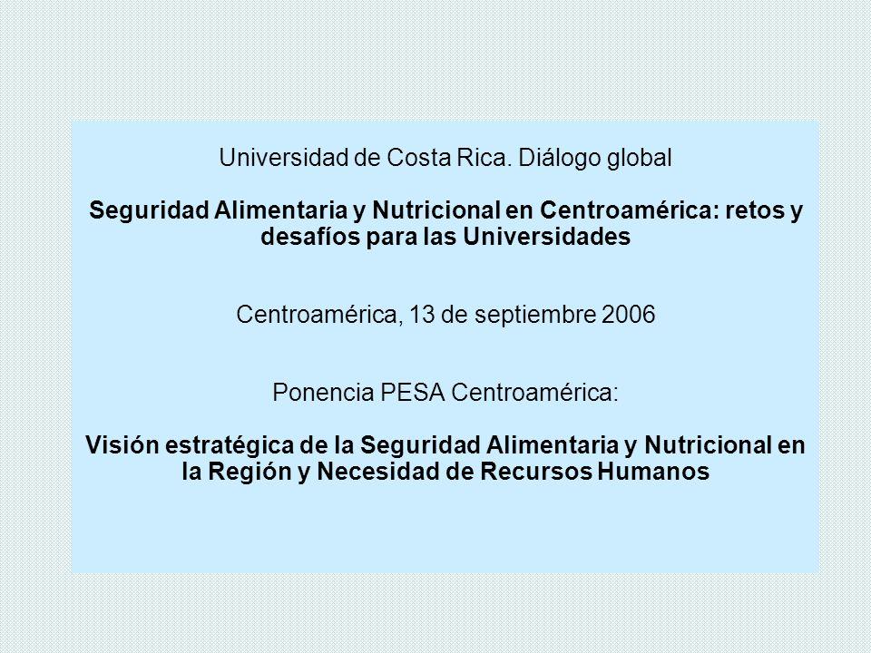 1.Visión Estratégica de la SAN en Centroamérica 2.Visión Estratégica de la SAN y Recursos Humanos 3.SAN y Recursos Humanos, Retos y Desafíos para las Universidades 4.Algunas reflexiones a partir de procesos de formación de RRHH en SAN vinculadas a PESA Contenido