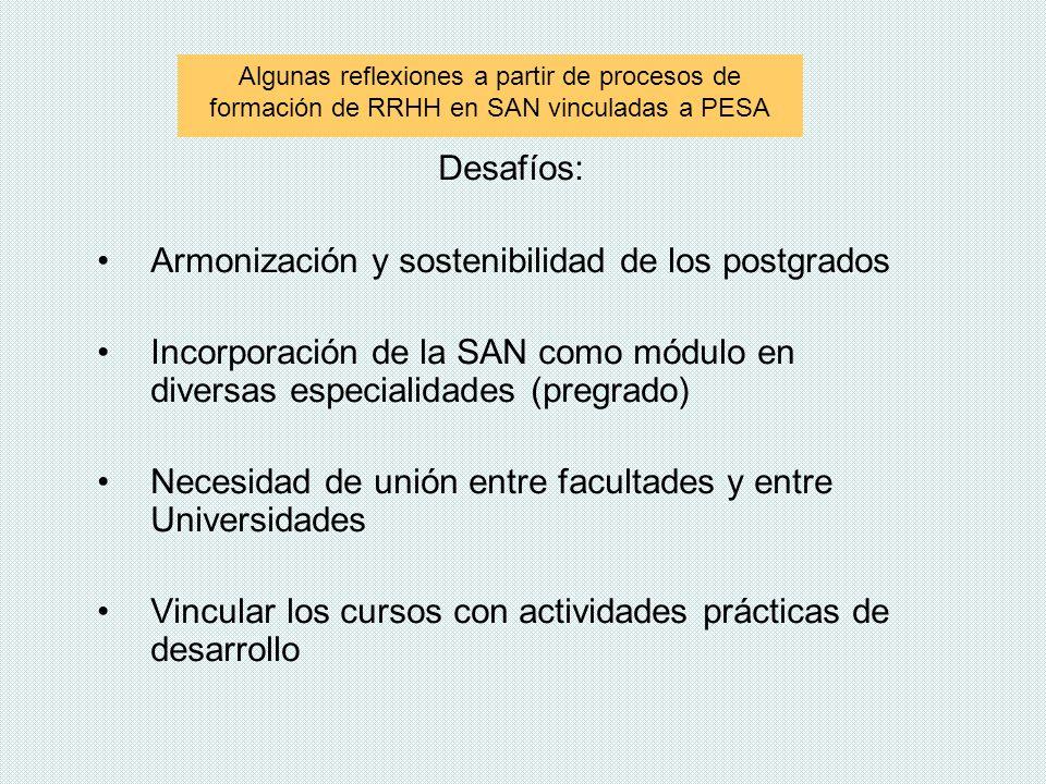 Desafíos: Armonización y sostenibilidad de los postgrados Incorporación de la SAN como módulo en diversas especialidades (pregrado) Necesidad de unión