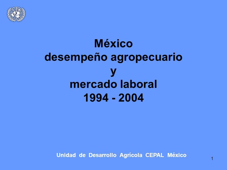 1 México desempeño agropecuario y mercado laboral 1994 - 2004 Unidad de Desarrollo Agrícola CEPAL México