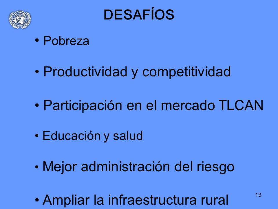 13 DESAFÍOS Pobreza Productividad y competitividad Participación en el mercado TLCAN Educación y salud Mejor administración del riesgo Ampliar la infr