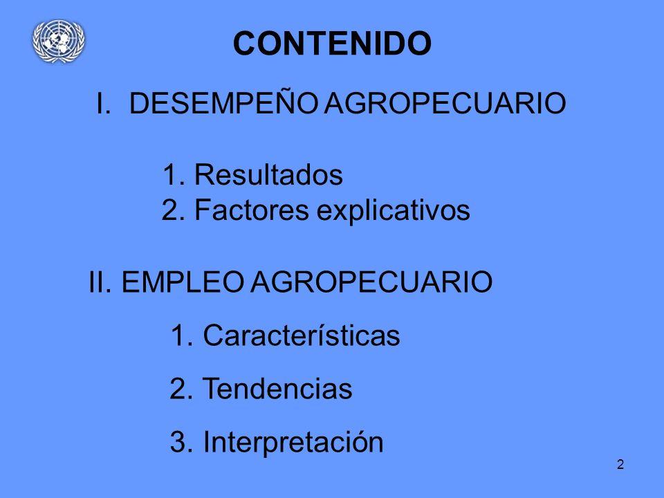 2 CONTENIDO I.DESEMPEÑO AGROPECUARIO 1. Resultados 2. Factores explicativos II.EMPLEO AGROPECUARIO 1. Características 2. Tendencias 3. Interpretación