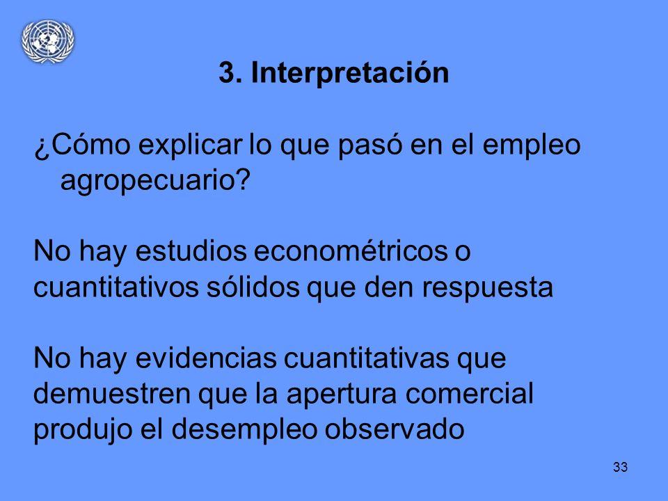 33 3. Interpretación ¿Cómo explicar lo que pasó en el empleo agropecuario? No hay estudios econométricos o cuantitativos sólidos que den respuesta No