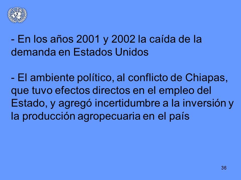 36 - En los años 2001 y 2002 la caída de la demanda en Estados Unidos - El ambiente político, al conflicto de Chiapas, que tuvo efectos directos en el