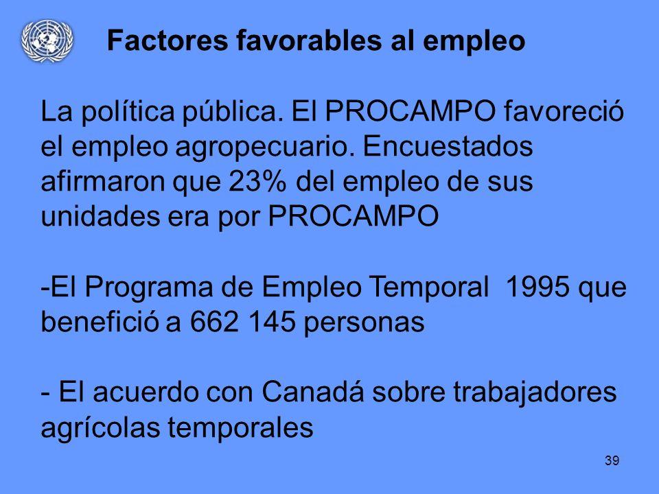 39 Factores favorables al empleo La política pública. El PROCAMPO favoreció el empleo agropecuario. Encuestados afirmaron que 23% del empleo de sus un