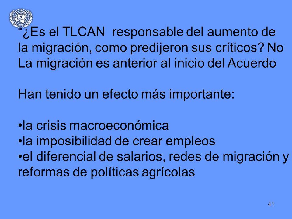 41 ¿Es el TLCAN responsable del aumento de la migración, como predijeron sus críticos? No La migración es anterior al inicio del Acuerdo Han tenido un
