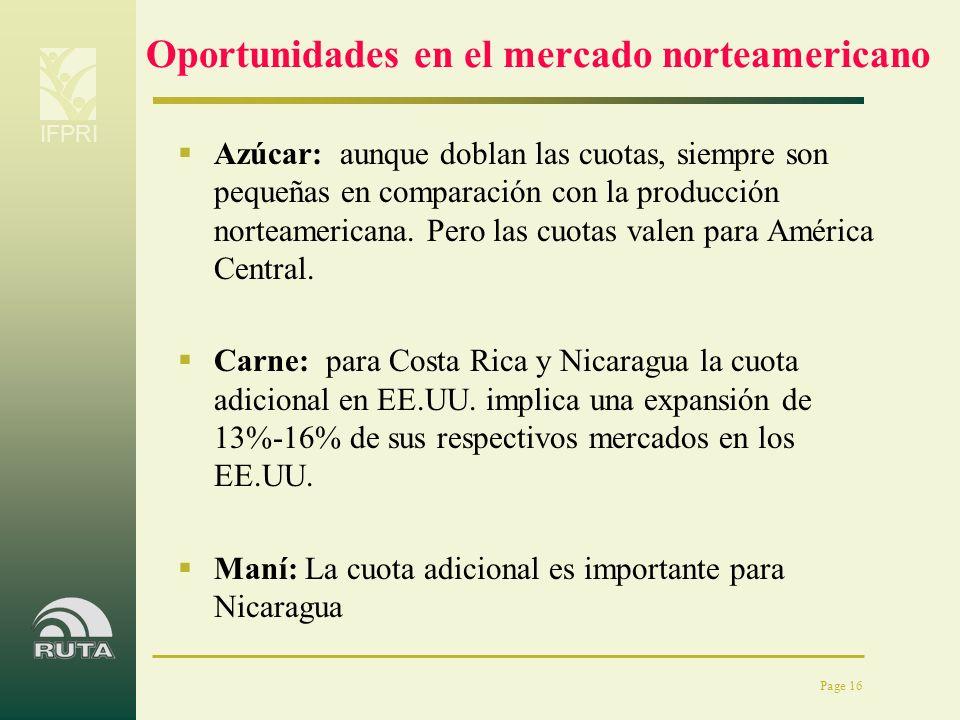 IFPRI Page 16 Oportunidades en el mercado norteamericano Azúcar: aunque doblan las cuotas, siempre son pequeñas en comparación con la producción norte