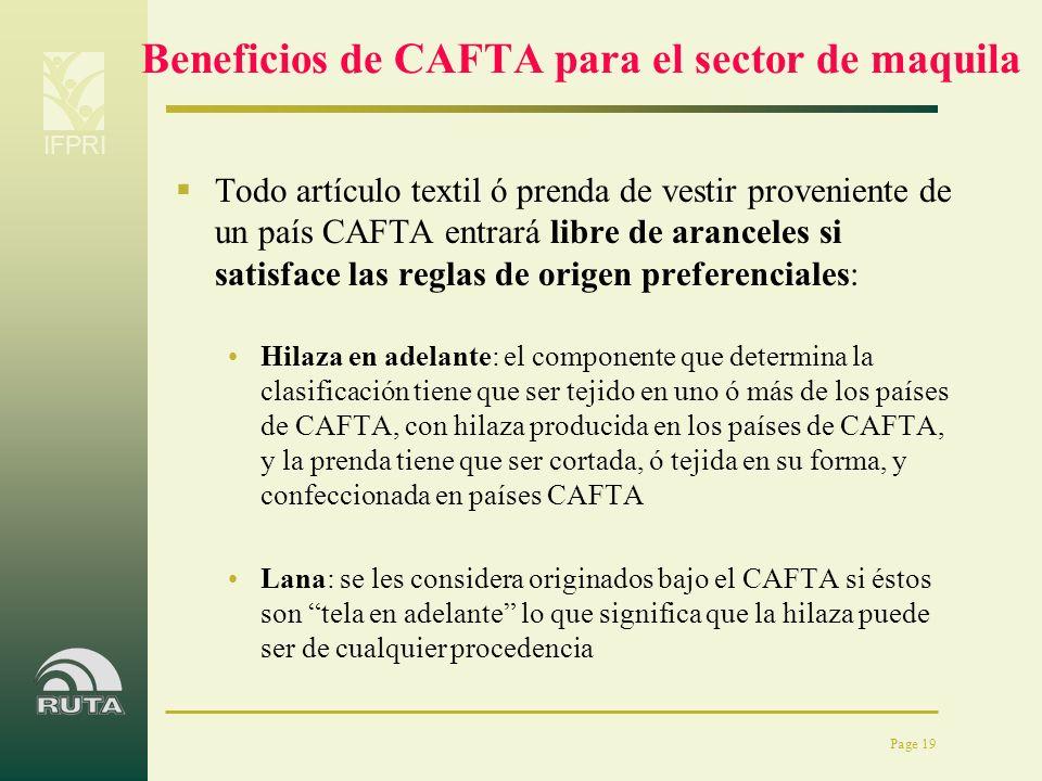 IFPRI Page 19 Beneficios de CAFTA para el sector de maquila Todo artículo textil ó prenda de vestir proveniente de un país CAFTA entrará libre de aran