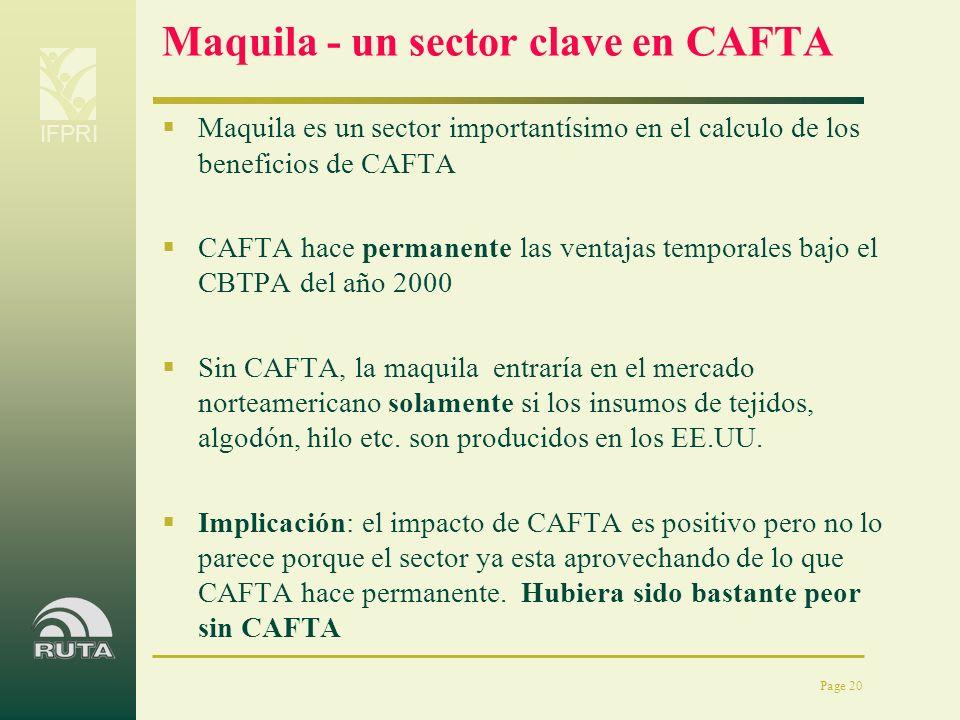 IFPRI Page 20 Maquila - un sector clave en CAFTA Maquila es un sector importantísimo en el calculo de los beneficios de CAFTA CAFTA hace permanente la