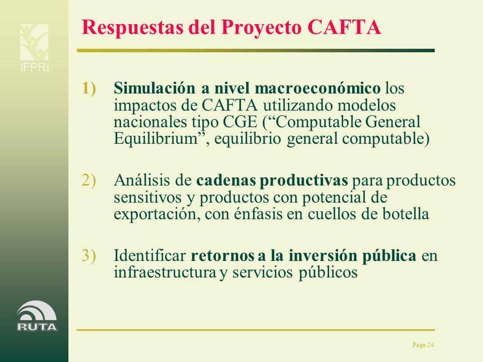 IFPRI Page 24 Respuestas del Proyecto CAFTA 1)Simulación a nivel macroeconómico los impactos de CAFTA utilizando modelos nacionales tipo CGE (Computab