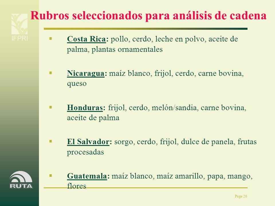 IFPRI Page 26 Rubros seleccionados para análisis de cadena Costa Rica: pollo, cerdo, leche en polvo, aceite de palma, plantas ornamentales Nicaragua: