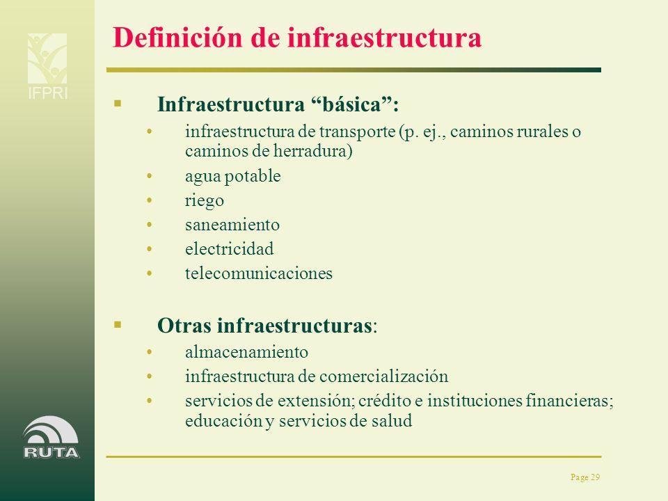 IFPRI Page 29 Definición de infraestructura Infraestructura básica: infraestructura de transporte (p. ej., caminos rurales o caminos de herradura) agu