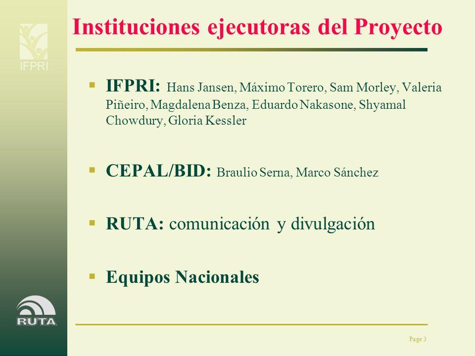 IFPRI Page 3 Instituciones ejecutoras del Proyecto IFPRI: Hans Jansen, Máximo Torero, Sam Morley, Valeria Piñeiro, Magdalena Benza, Eduardo Nakasone,