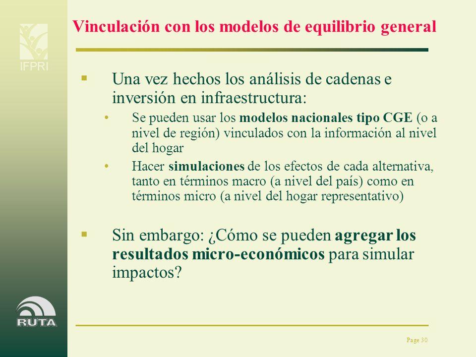 IFPRI Page 30 Vinculación con los modelos de equilibrio general Una vez hechos los análisis de cadenas e inversión en infraestructura: Se pueden usar