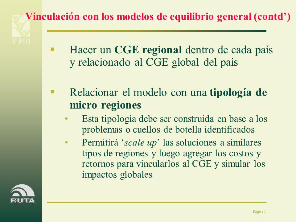 IFPRI Page 31 Vinculación con los modelos de equilibrio general (contd) Hacer un CGE regional dentro de cada país y relacionado al CGE global del país
