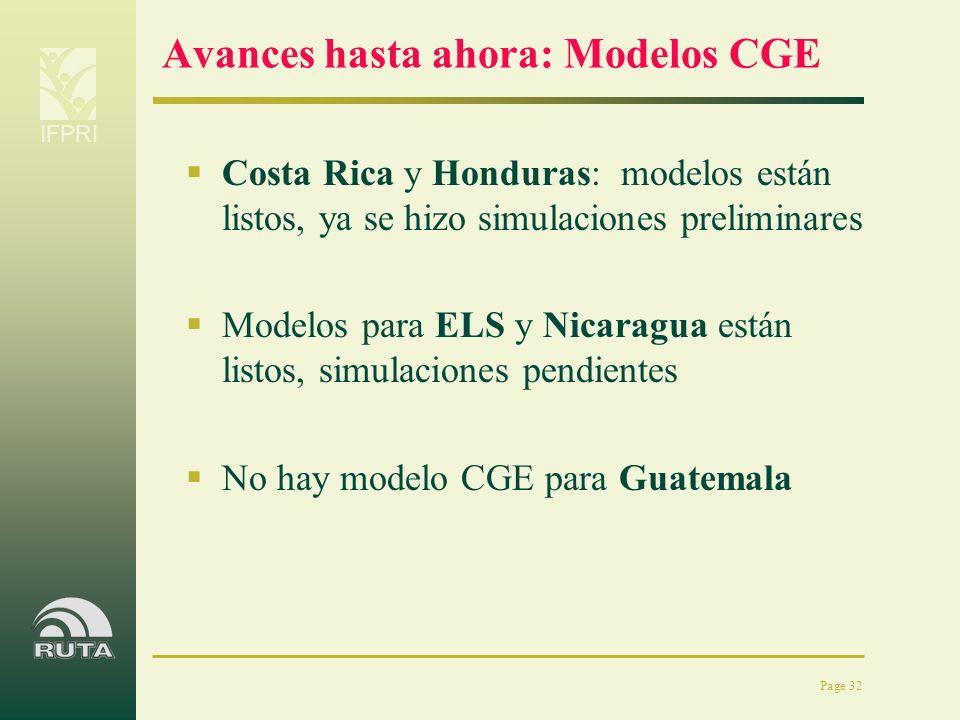 IFPRI Page 32 Avances hasta ahora: Modelos CGE Costa Rica y Honduras: modelos están listos, ya se hizo simulaciones preliminares Modelos para ELS y Ni