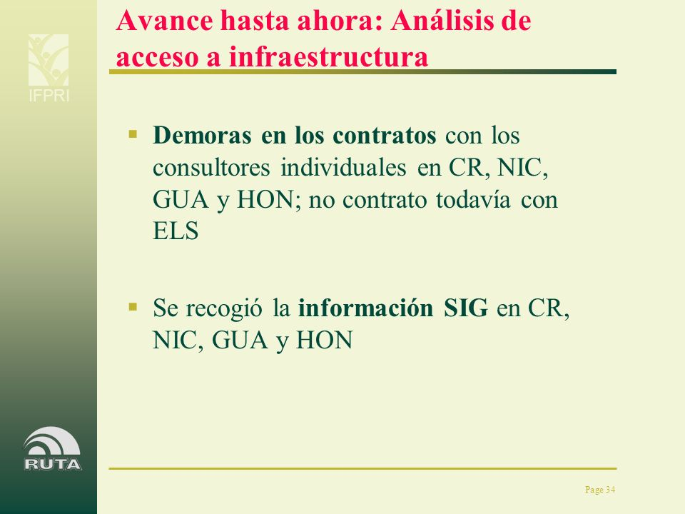 IFPRI Page 34 Avance hasta ahora: Análisis de acceso a infraestructura Demoras en los contratos con los consultores individuales en CR, NIC, GUA y HON