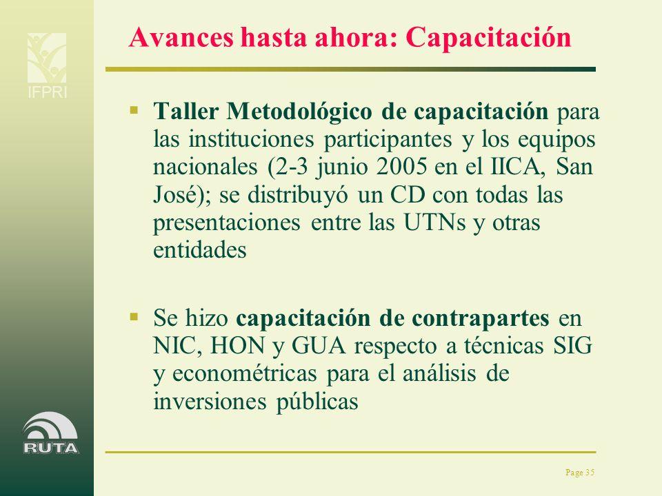 IFPRI Page 35 Avances hasta ahora: Capacitación Taller Metodológico de capacitación para las instituciones participantes y los equipos nacionales (2-3