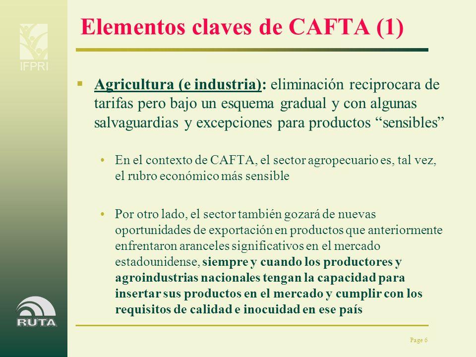 IFPRI Page 6 Elementos claves de CAFTA (1) Agricultura (e industria): eliminación reciprocara de tarifas pero bajo un esquema gradual y con algunas sa