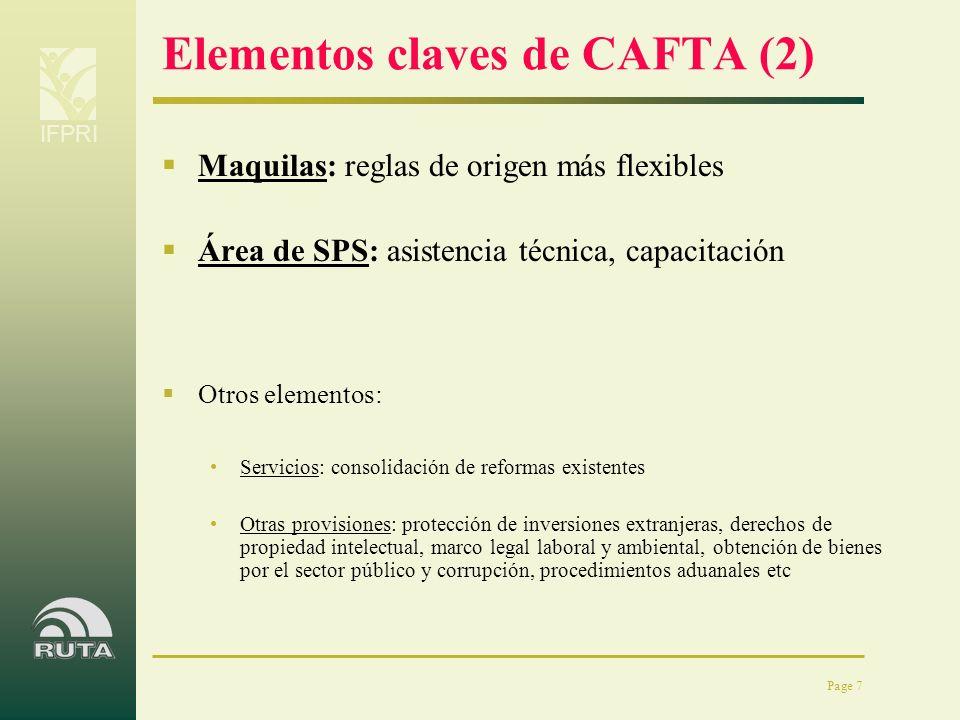 IFPRI Page 7 Elementos claves de CAFTA (2) Maquilas: reglas de origen más flexibles Área de SPS: asistencia técnica, capacitación Otros elementos: Ser