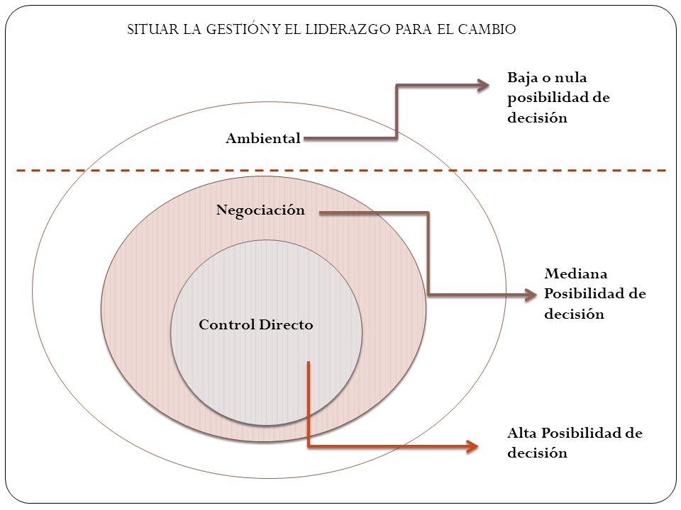 Control Directo Negociación Ambiental Alta Posibilidad de decisión Mediana Posibilidad de decisión Baja o nula posibilidad de decisión SITUAR LA GESTI
