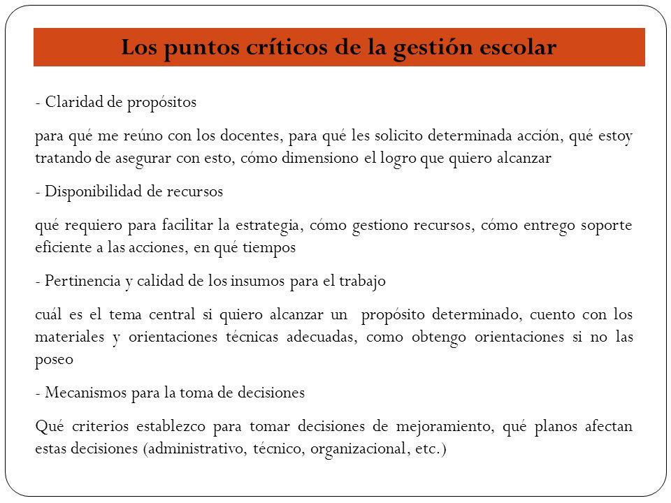 16 Los puntos críticos de la gestión escolar - Claridad de propósitos para qué me reúno con los docentes, para qué les solicito determinada acción, qu