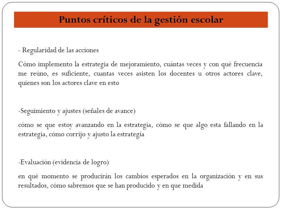 17 Puntos críticos de la gestión escolar - Regularidad de las acciones Cómo implemento la estrategia de mejoramiento, cuántas veces y con qué frecuenc