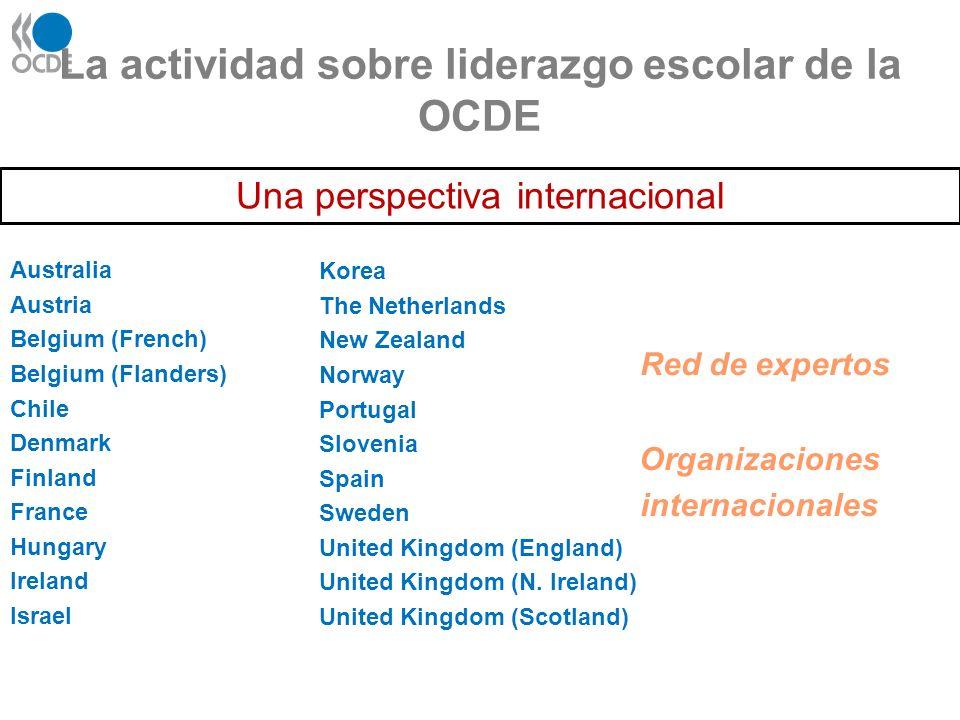 La actividad sobre liderazgo escolar de la OCDE Australia Austria Belgium (French) Belgium (Flanders) Chile Denmark Finland France Hungary Ireland Isr