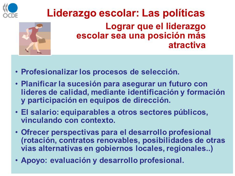 Liderazgo escolar: Las políticas Lograr que el liderazgo escolar sea una posición más atractiva Profesionalizar los procesos de selección. Planificar