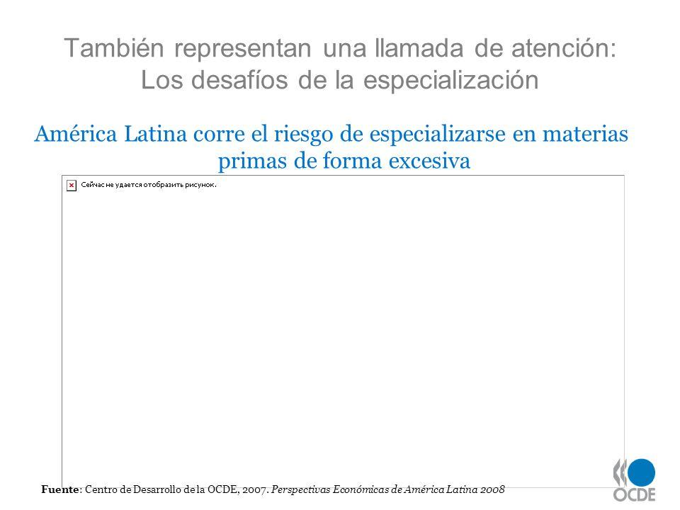 También representan una llamada de atención: Los desafíos de la especialización Fuente: Centro de Desarrollo de la OCDE, 2007. Perspectivas Económicas