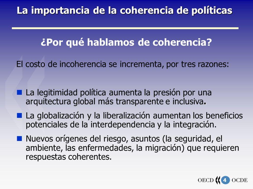 5 La importancia de la coherencia de políticas El concepto de coherencia de políticas 2 Flujos, interacciones, impactos 3 (a) Comercio y ayuda (b) Comercio y migración 1 (c) Remesas y desarrollo