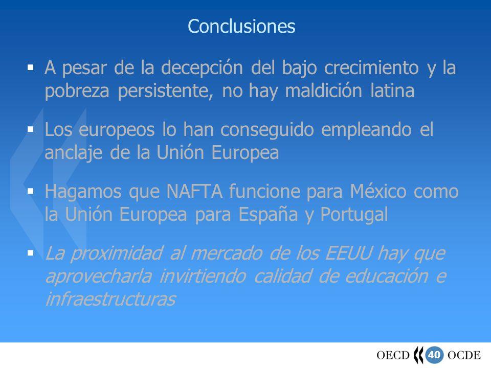 40 Conclusiones A pesar de la decepción del bajo crecimiento y la pobreza persistente, no hay maldición latina Los europeos lo han conseguido empleand
