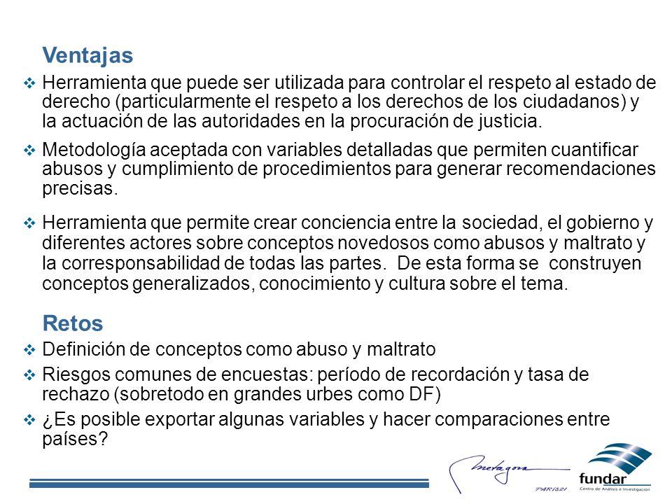 Ventajas Herramienta que puede ser utilizada para controlar el respeto al estado de derecho (particularmente el respeto a los derechos de los ciudadanos) y la actuación de las autoridades en la procuración de justicia.